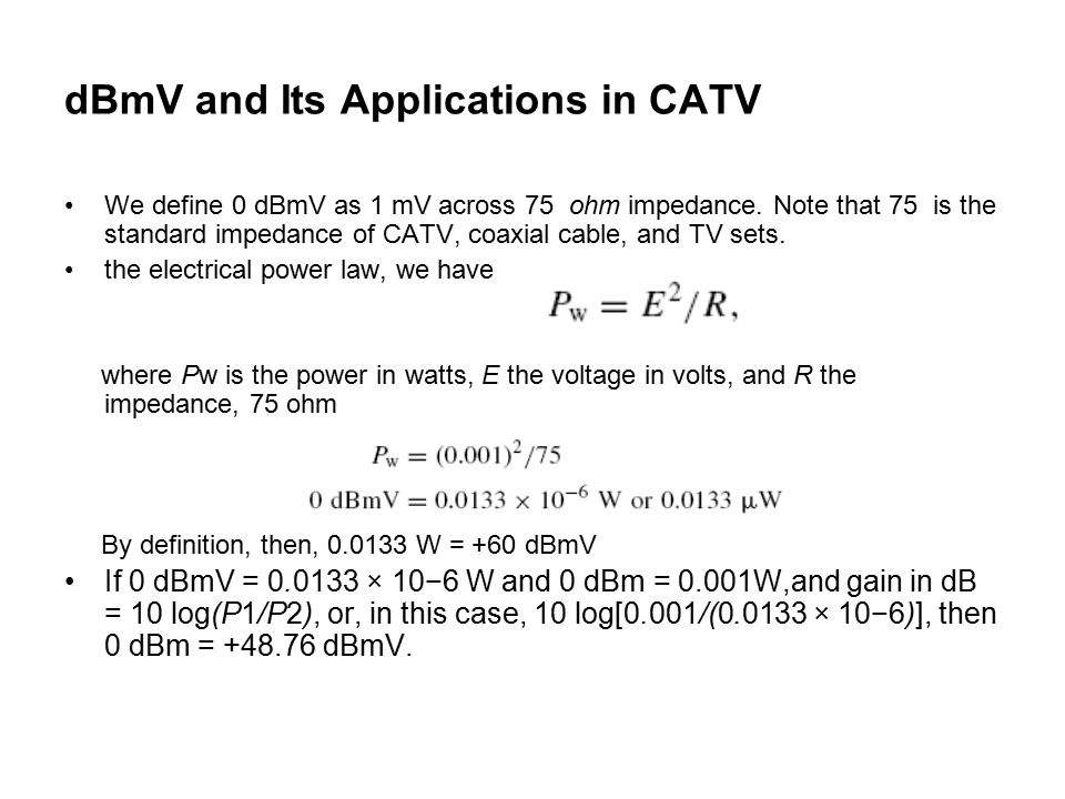 dBmV and Its Applications in CATV