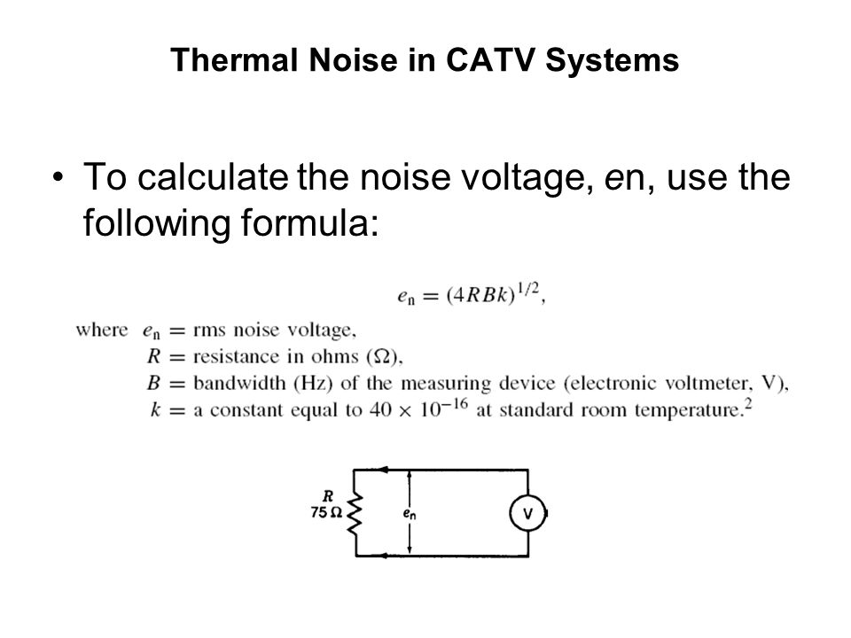 Thermal Noise in CATV Systems