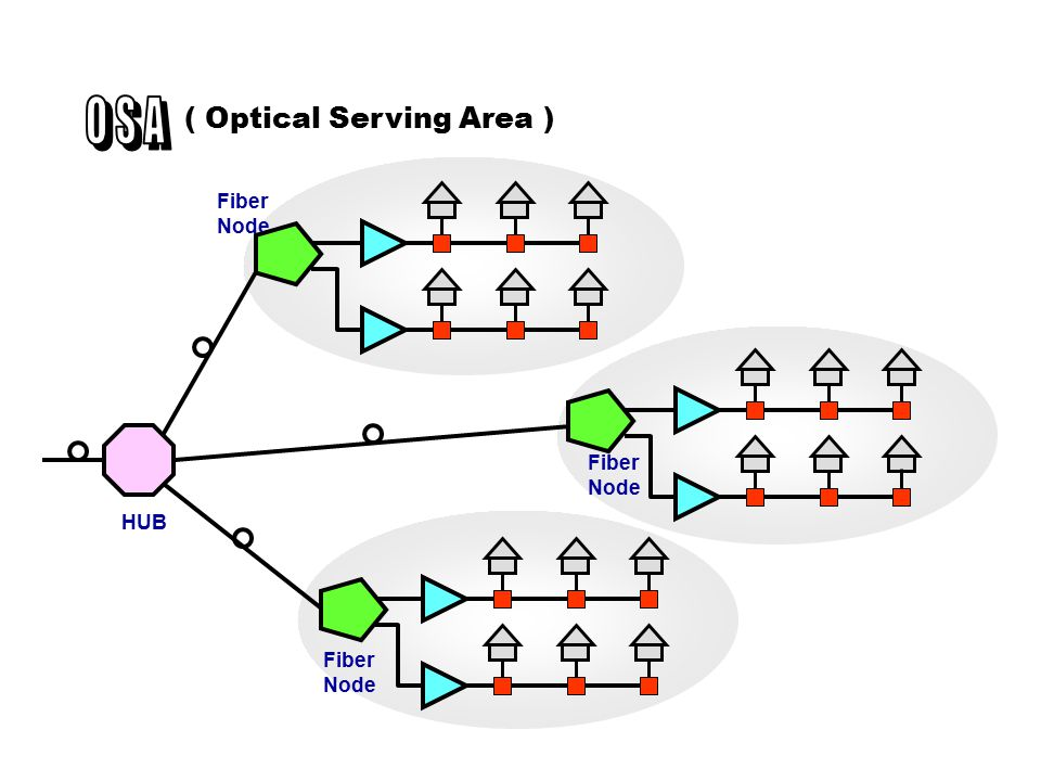 O S A ( Optical Serving Area ) Fiber Node Fiber Node HUB Fiber Node