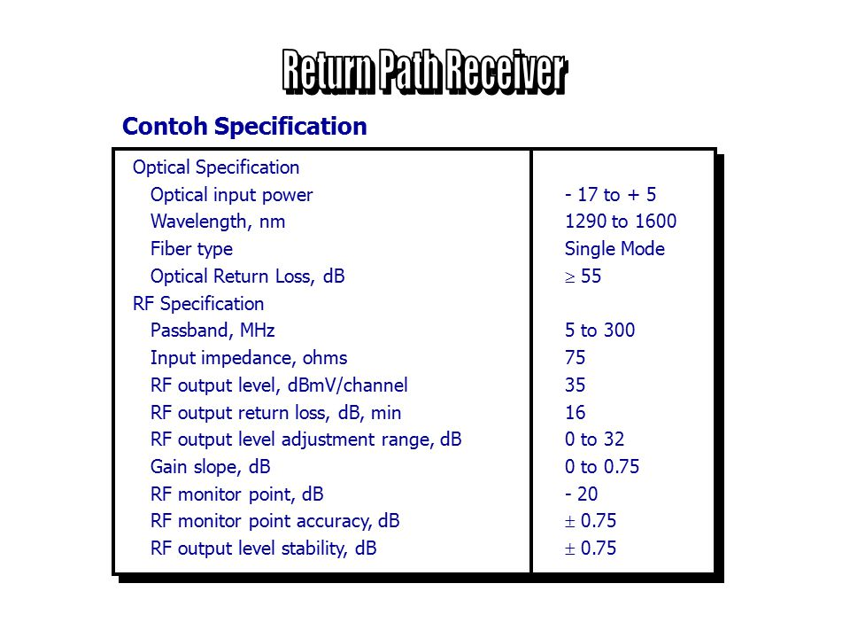 Return Path Receiver Contoh Specification Optical Specification