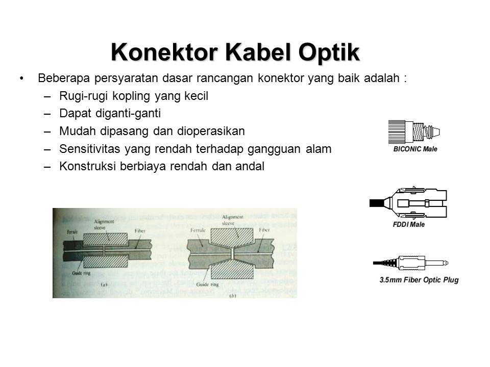 Konektor Kabel Optik Beberapa persyaratan dasar rancangan konektor yang baik adalah : Rugi-rugi kopling yang kecil.