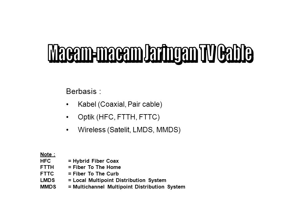 Macam-macam Jaringan TV Cable
