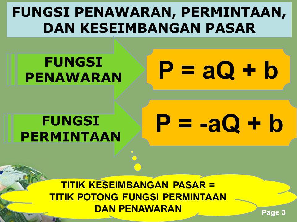 P = aQ + b P = -aQ + b FUNGSI PENAWARAN, PERMINTAAN,