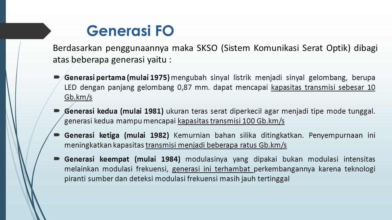 Generasi FO Berdasarkan penggunaannya maka SKSO (Sistem Komunikasi Serat Optik) dibagi atas beberapa generasi yaitu :