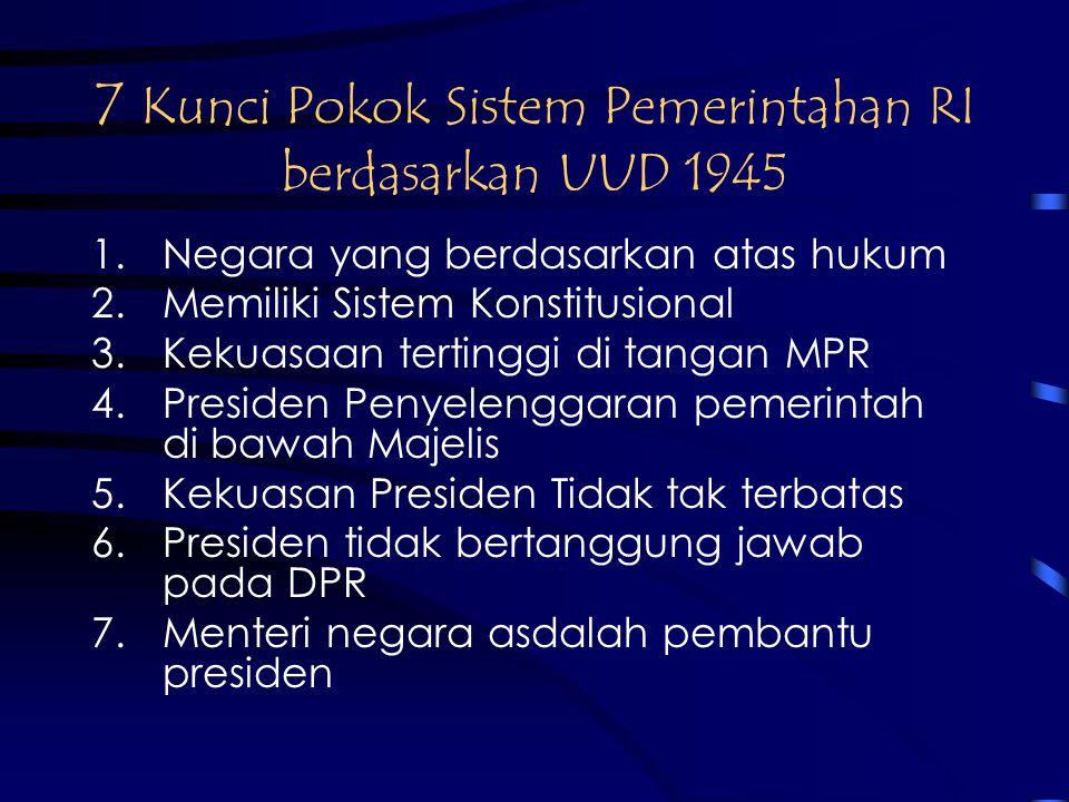 7 Kunci Pokok Sistem Pemerintahan RI berdasarkan UUD 1945