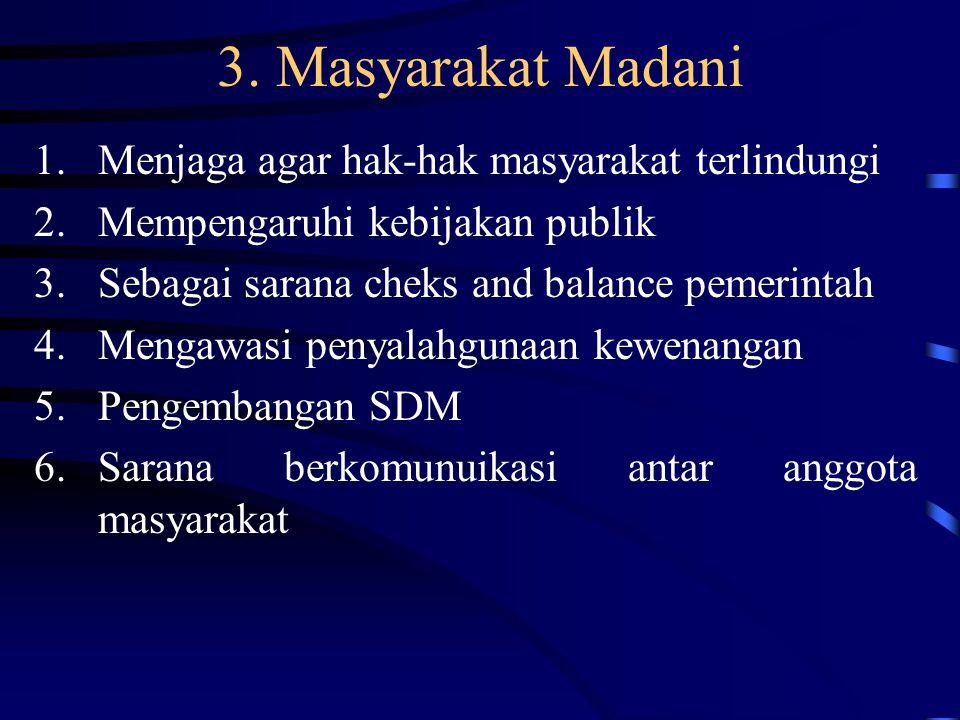 3. Masyarakat Madani Menjaga agar hak-hak masyarakat terlindungi