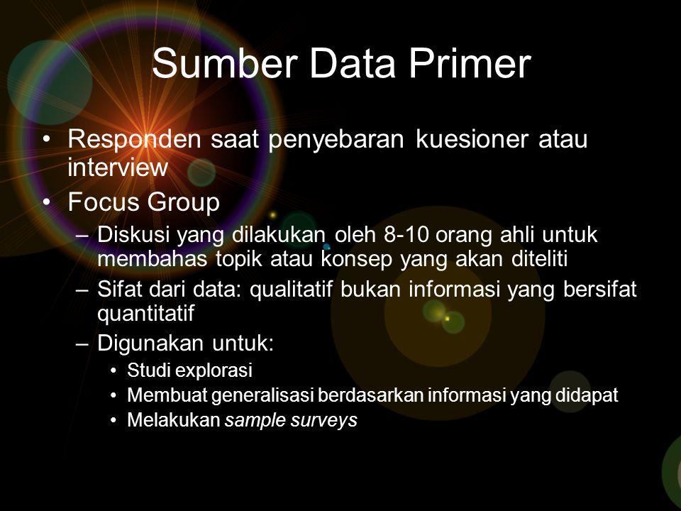 Sumber Data Primer Responden saat penyebaran kuesioner atau interview