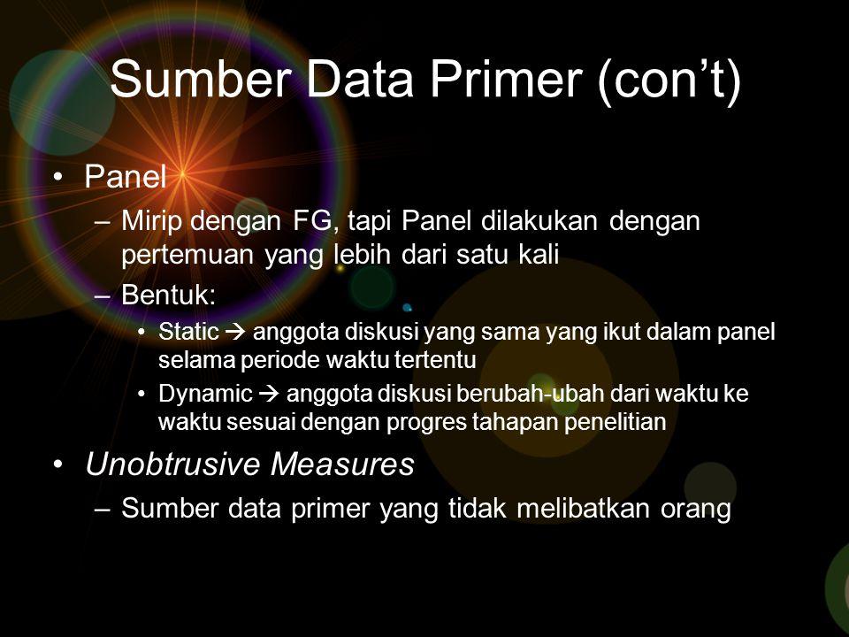 Sumber Data Primer (con't)