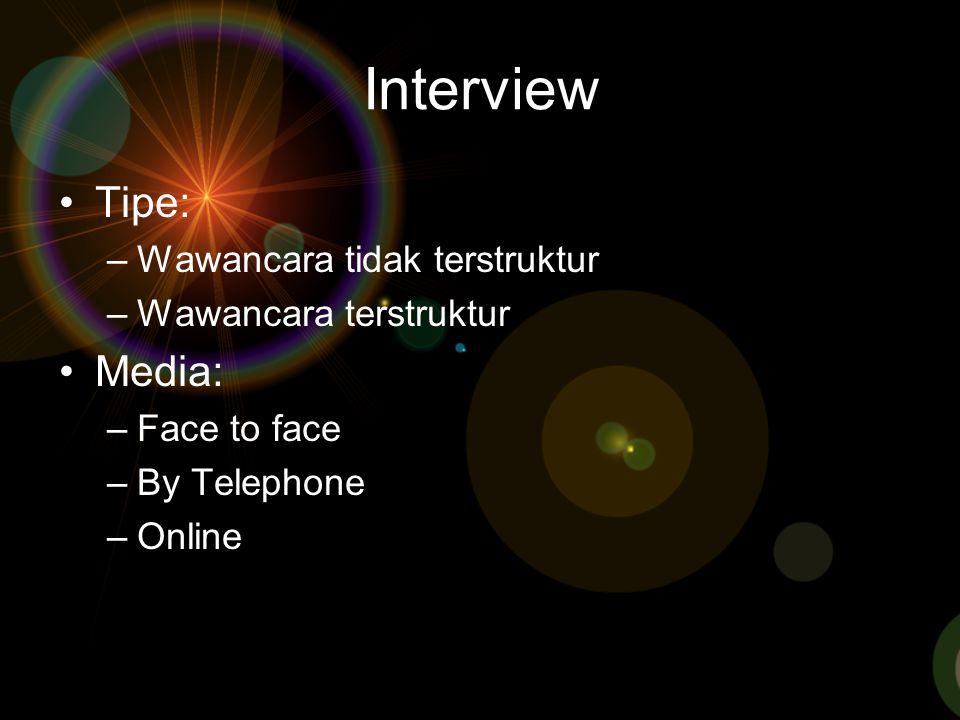 Interview Tipe: Media: Wawancara tidak terstruktur