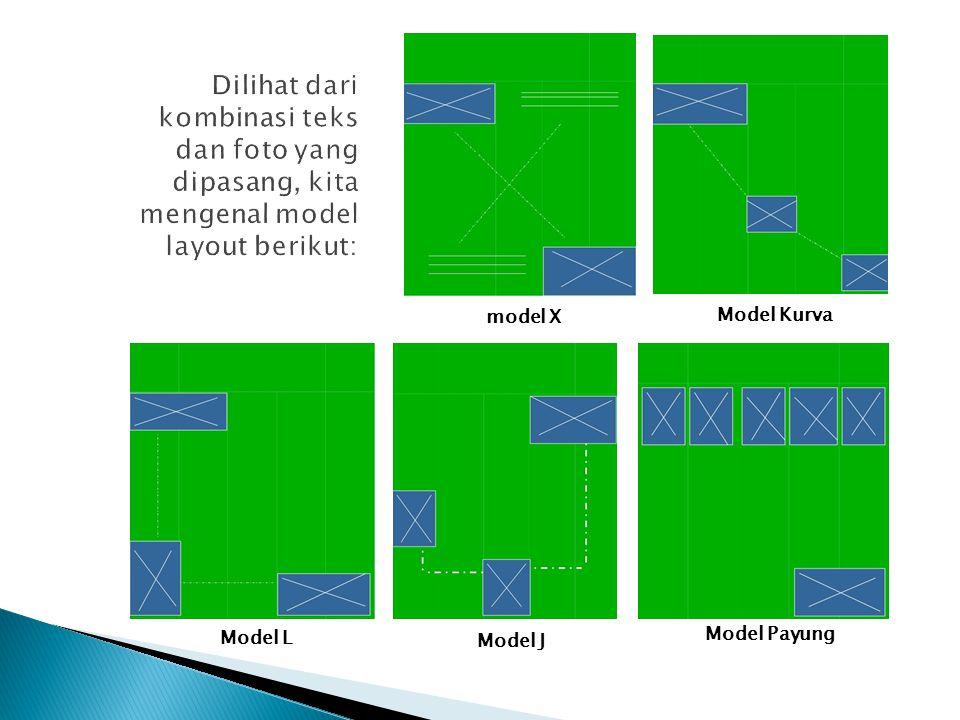 Dilihat dari kombinasi teks dan foto yang dipasang, kita mengenal model layout berikut: