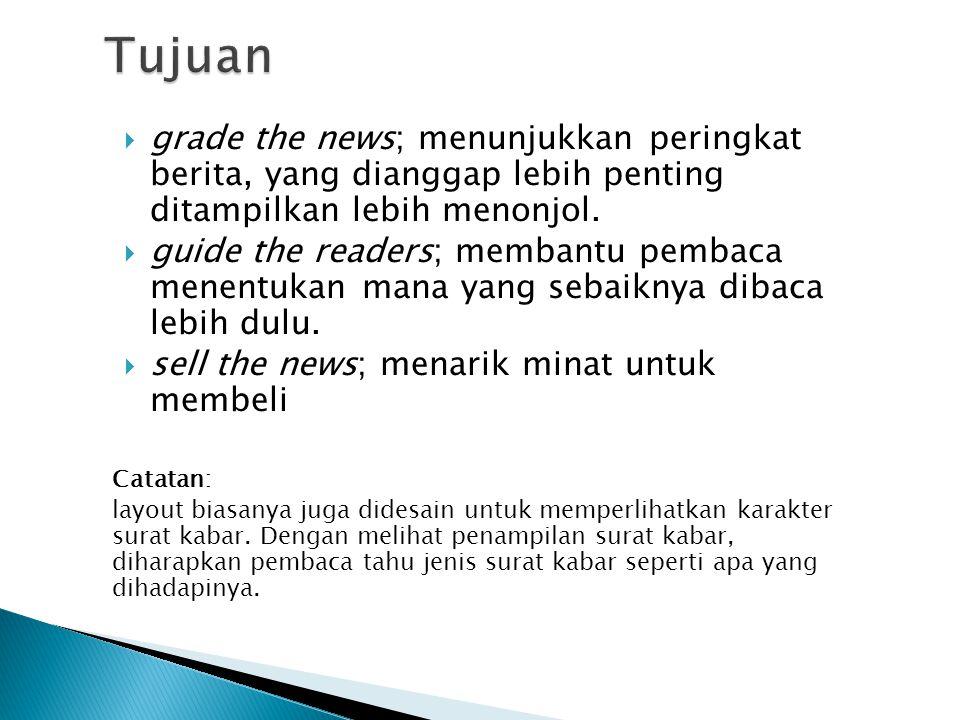 Tujuan grade the news; menunjukkan peringkat berita, yang dianggap lebih penting ditampilkan lebih menonjol.