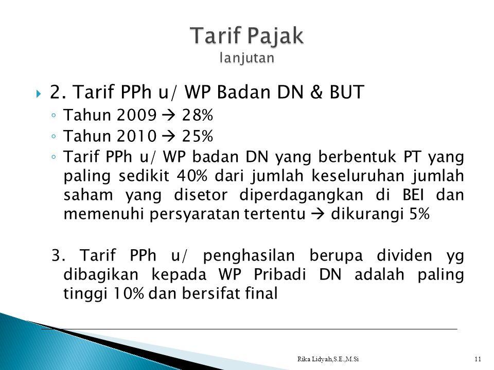 Tarif Pajak lanjutan 2. Tarif PPh u/ WP Badan DN & BUT