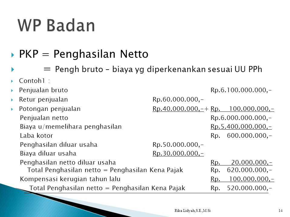 WP Badan PKP = Penghasilan Netto