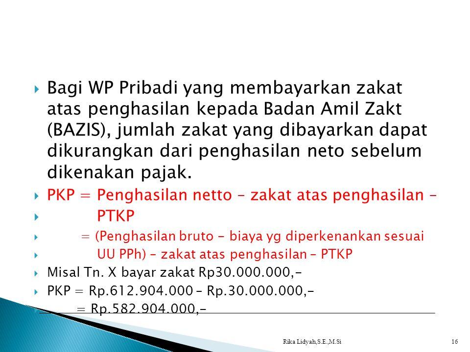 Bagi WP Pribadi yang membayarkan zakat atas penghasilan kepada Badan Amil Zakt (BAZIS), jumlah zakat yang dibayarkan dapat dikurangkan dari penghasilan neto sebelum dikenakan pajak.