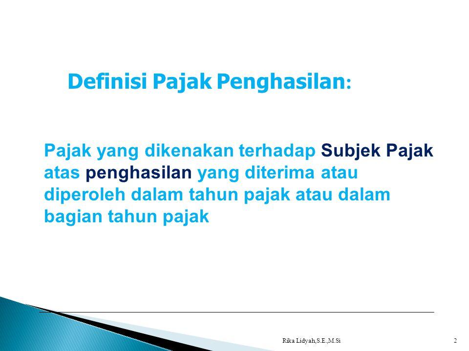 Definisi Pajak Penghasilan: