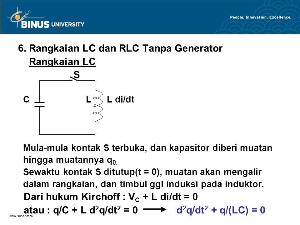 6. Rangkaian LC dan RLC Tanpa Generator Rangkaian LC S