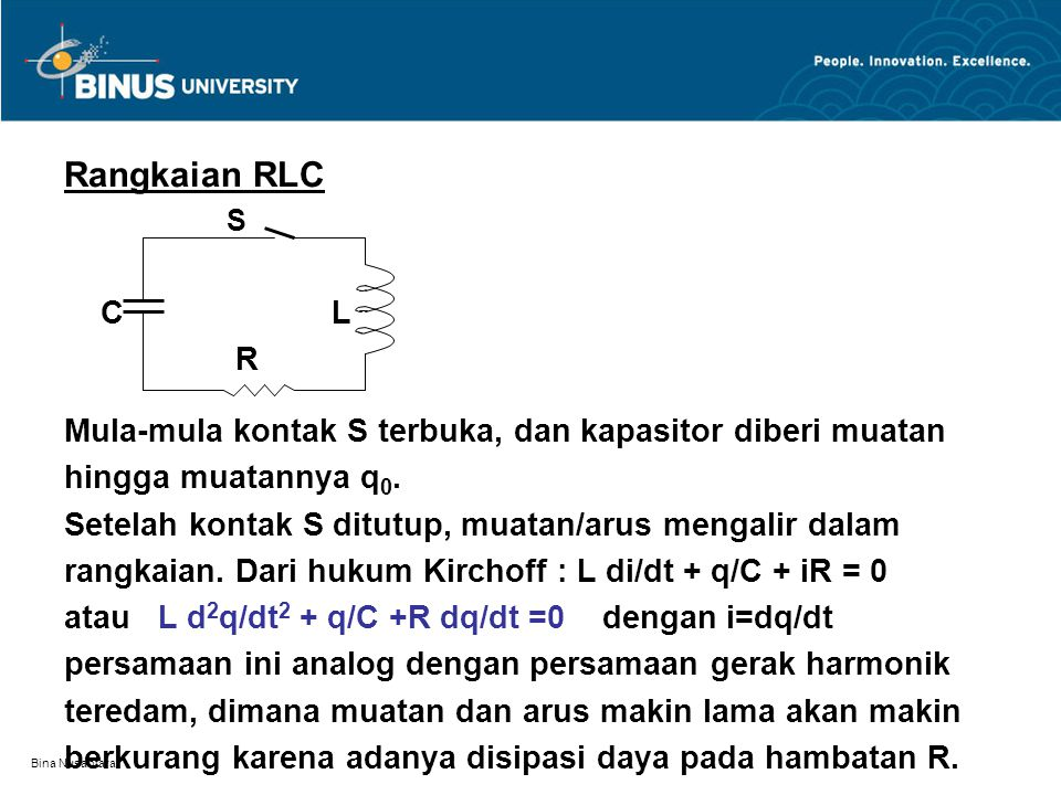 Rangkaian RLC S. C L. R. Mula-mula kontak S terbuka, dan kapasitor diberi muatan.