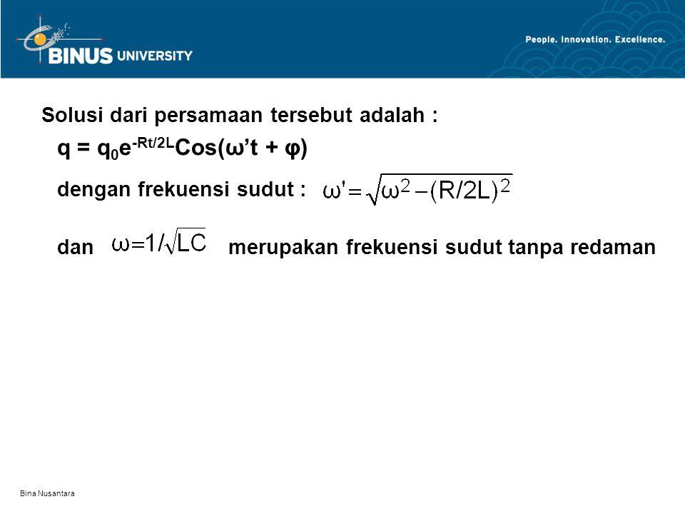 Solusi dari persamaan tersebut adalah :