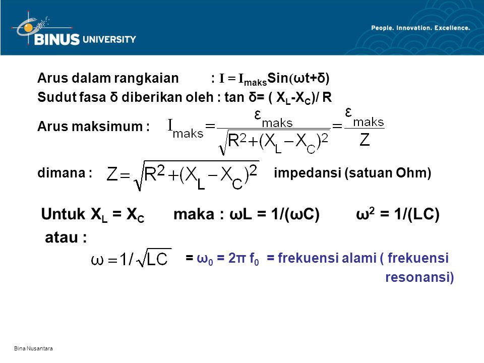 Arus dalam rangkaian : I = ImaksSin(ωt+δ)