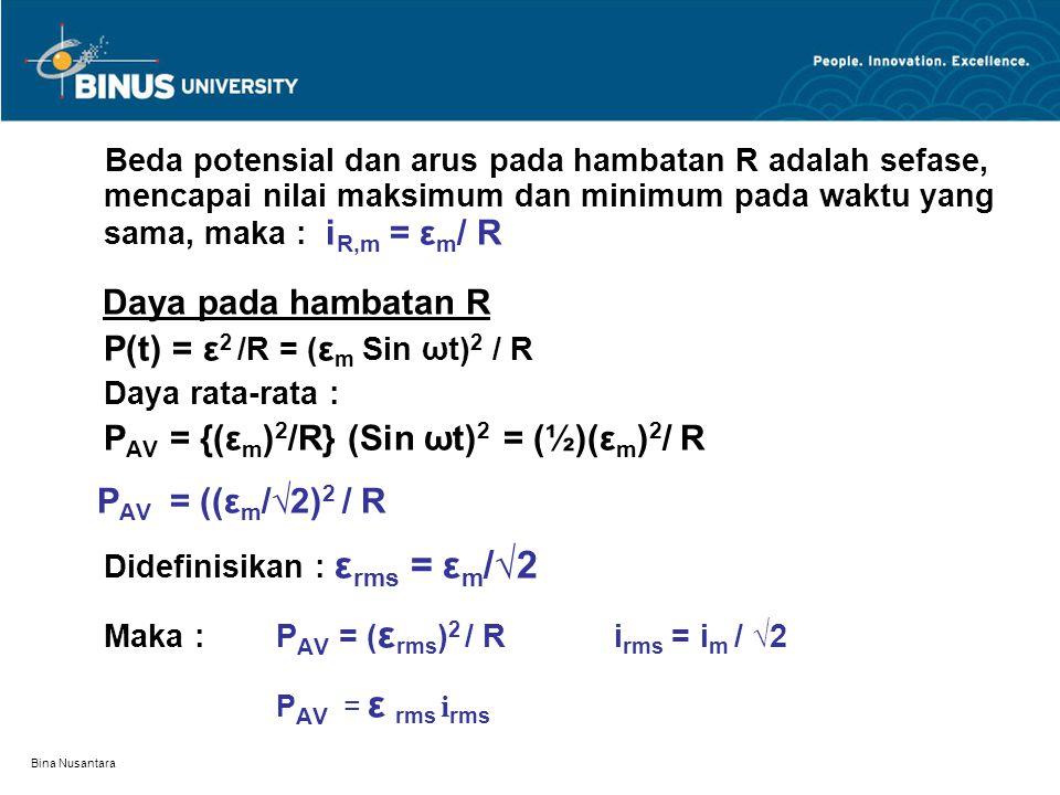P(t) = ε2 /R = (εm Sin ωt)2 / R