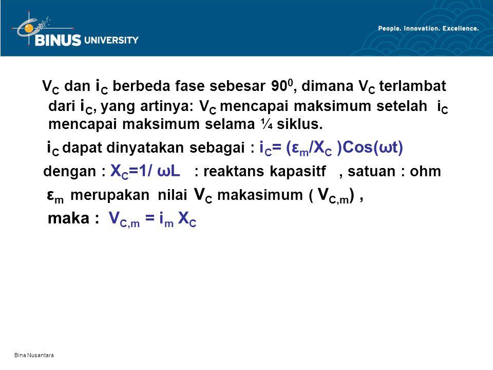 dengan : XC=1/ ωL : reaktans kapasitf , satuan : ohm