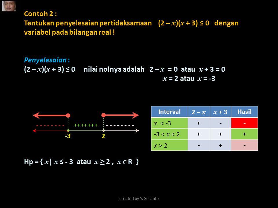 (2 – x)(x + 3) ≤ 0 nilai nolnya adalah 2 – x = 0 atau x + 3 = 0
