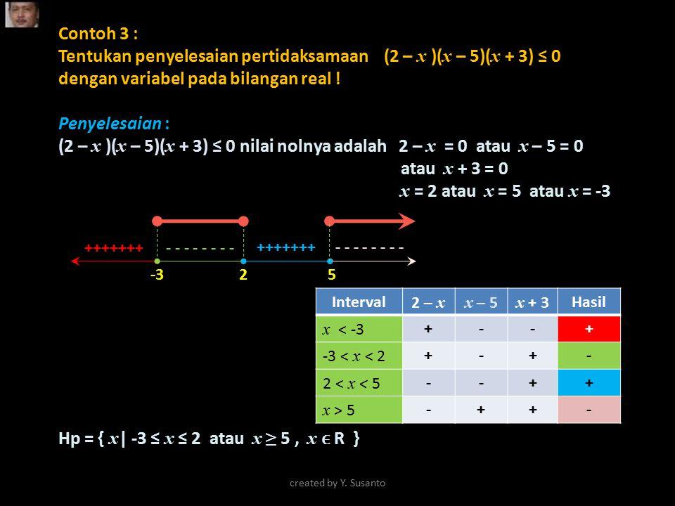 Hp = { x| -3 ≤ x ≤ 2 atau x ≥ 5 , x ϵ R }