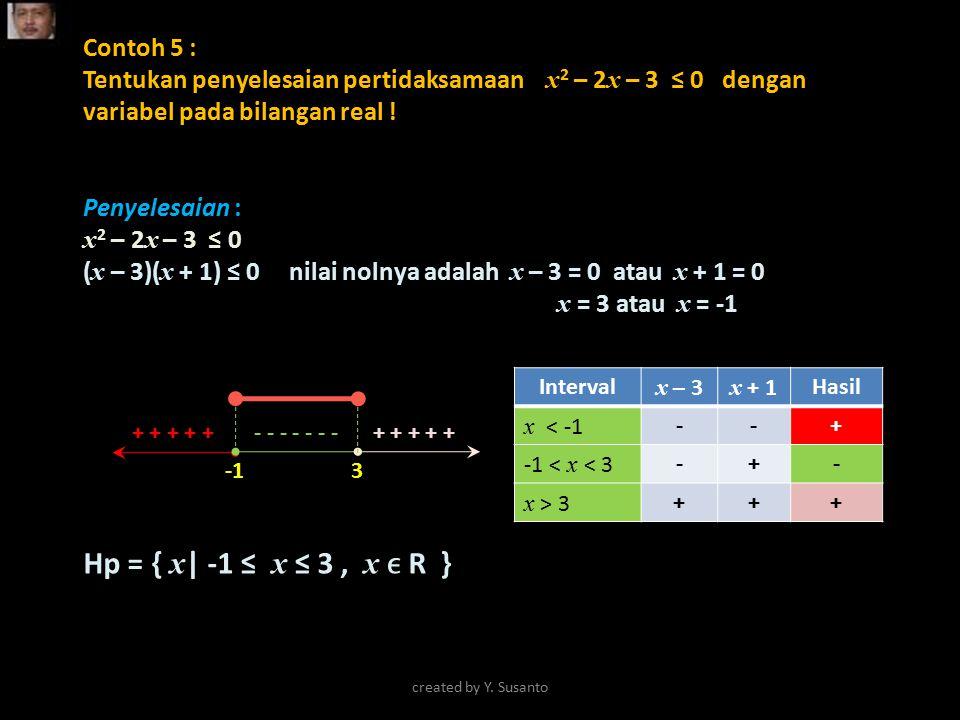 Hp = { x| -1 ≤ x ≤ 3 , x ϵ R } Contoh 5 :