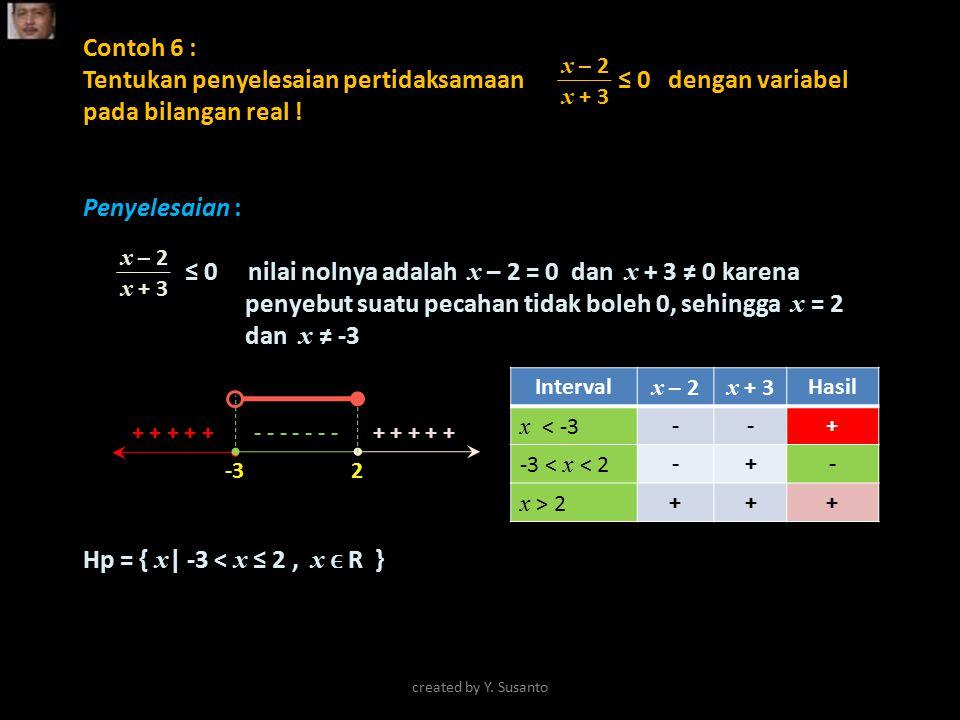 Contoh 6 : Tentukan penyelesaian pertidaksamaan ≤ 0 dengan variabel pada bilangan real !