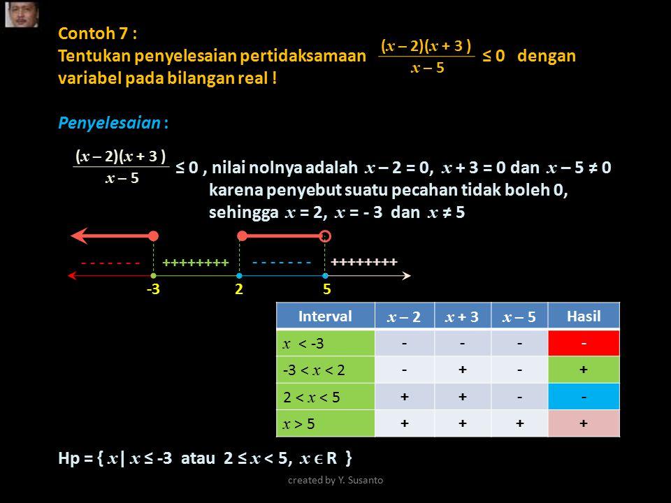 Hp = { x| x ≤ -3 atau 2 ≤ x < 5, x ϵ R }