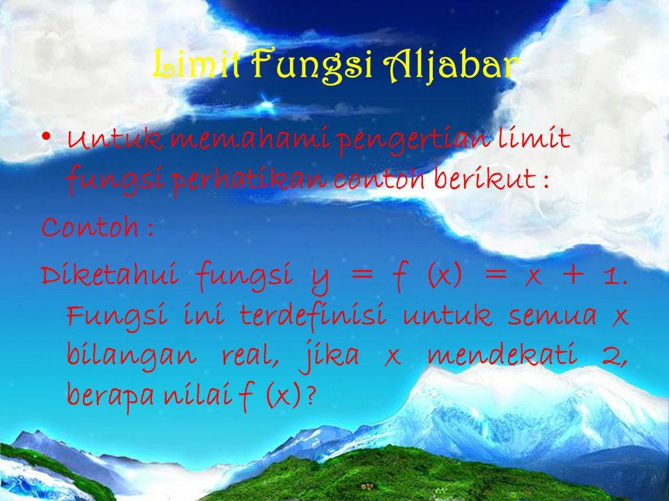 Limit Fungsi Aljabar Untuk memahami pengertian limit fungsi perhatikan contoh berikut : Contoh :