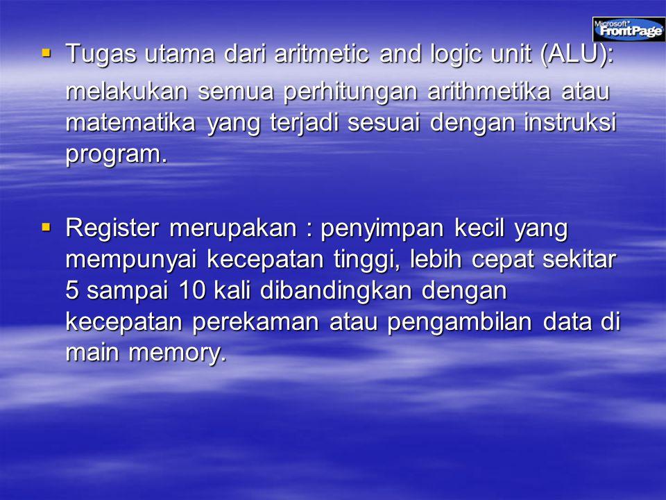 Tugas utama dari aritmetic and logic unit (ALU):