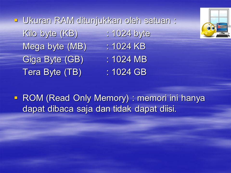 Ukuran RAM ditunjukkan oleh satuan :