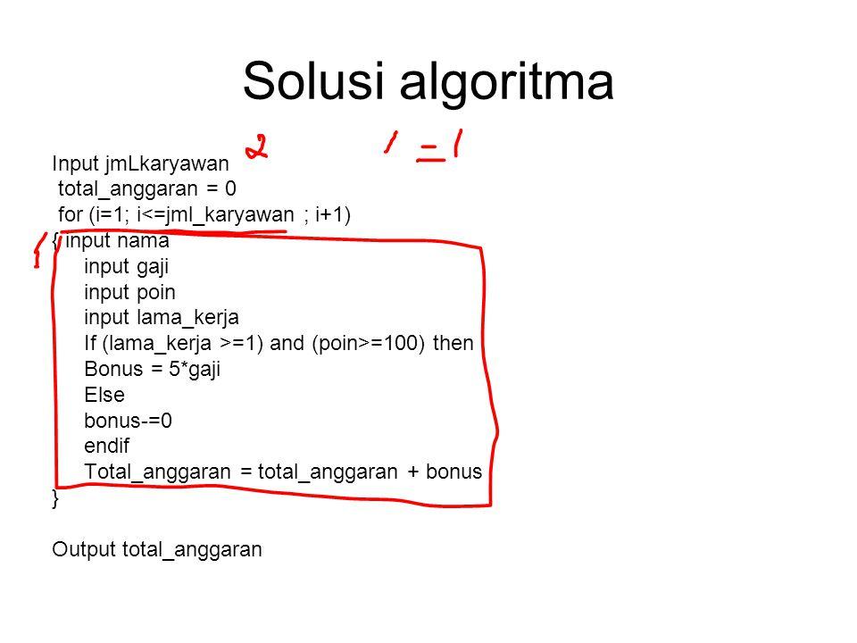 Solusi algoritma Input jmLkaryawan total_anggaran = 0
