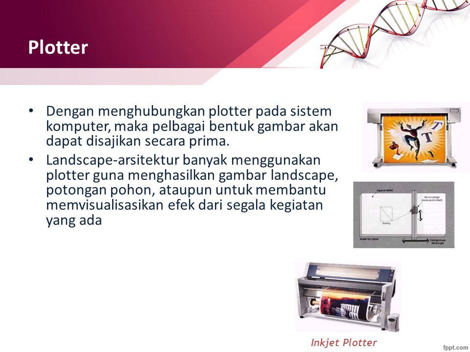 Plotter Dengan menghubungkan plotter pada sistem komputer, maka pelbagai bentuk gambar akan dapat disajikan secara prima.