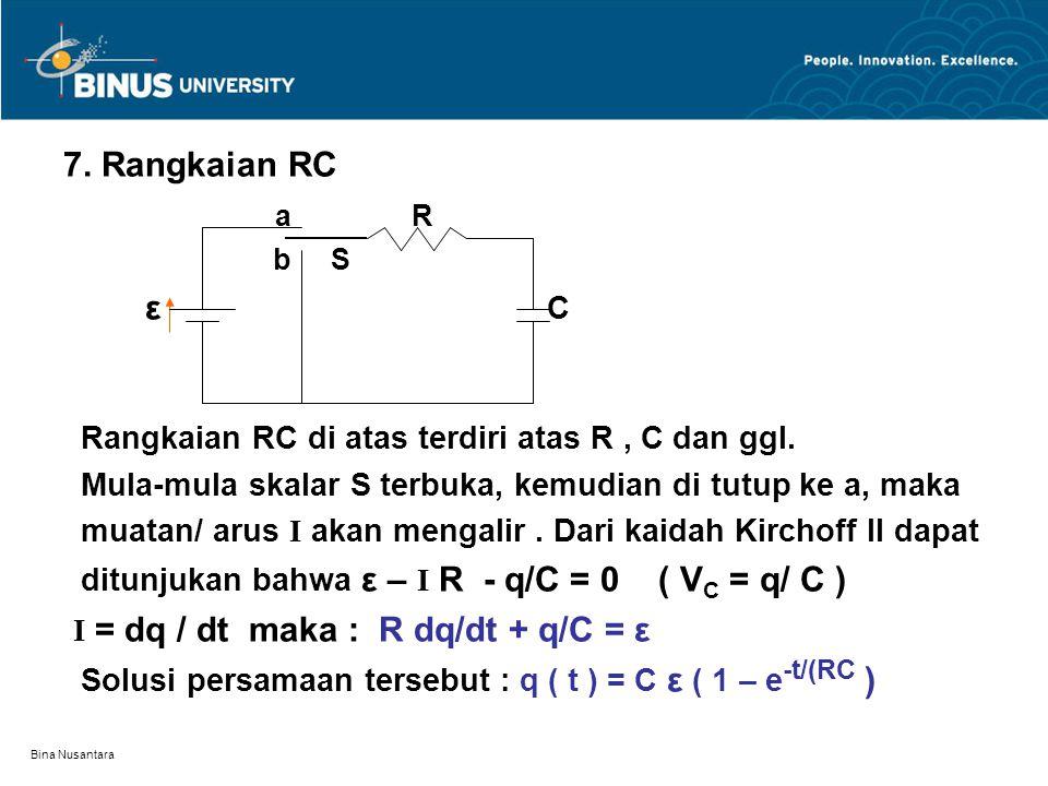 I = dq / dt maka : R dq/dt + q/C = ε