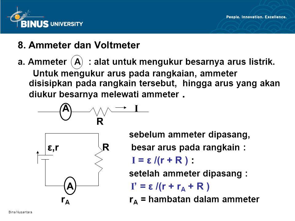 A I 8. Ammeter dan Voltmeter R sebelum ammeter dipasang,