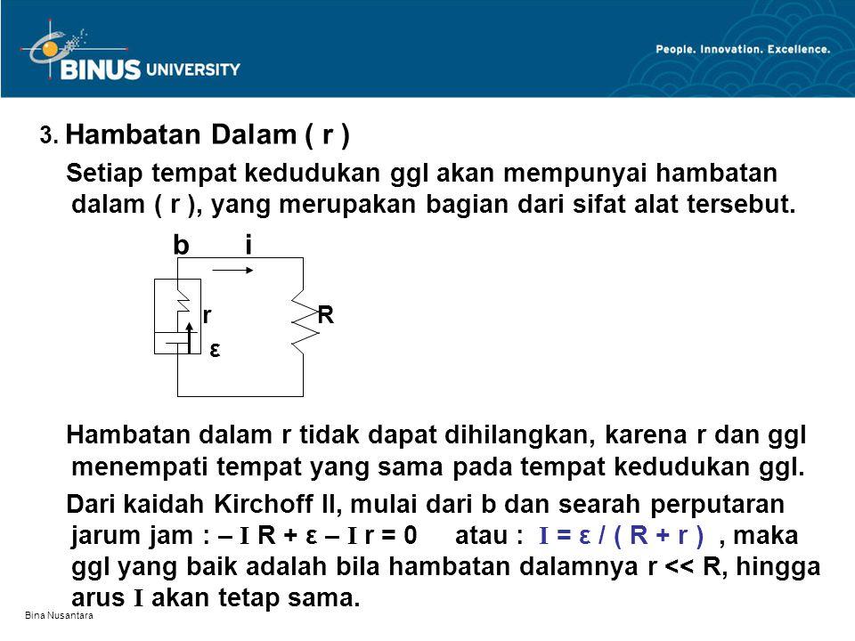 3. Hambatan Dalam ( r ) Setiap tempat kedudukan ggl akan mempunyai hambatan dalam ( r ), yang merupakan bagian dari sifat alat tersebut.