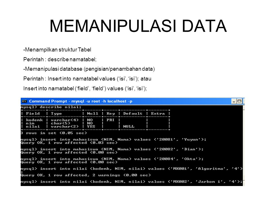 MEMANIPULASI DATA Menampilkan struktur Tabel