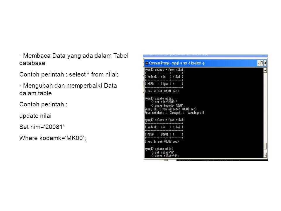 Membaca Data yang ada dalam Tabel database