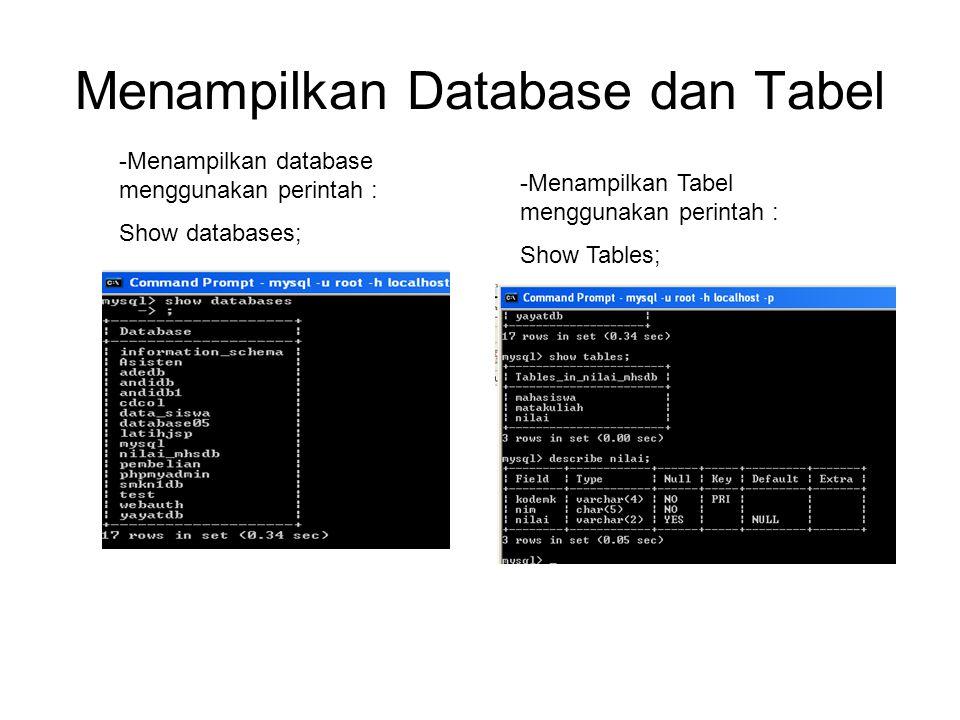 Menampilkan Database dan Tabel