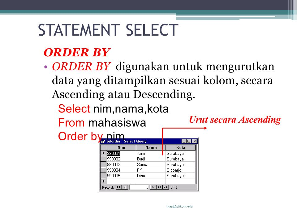 STATEMENT SELECT ORDER BY