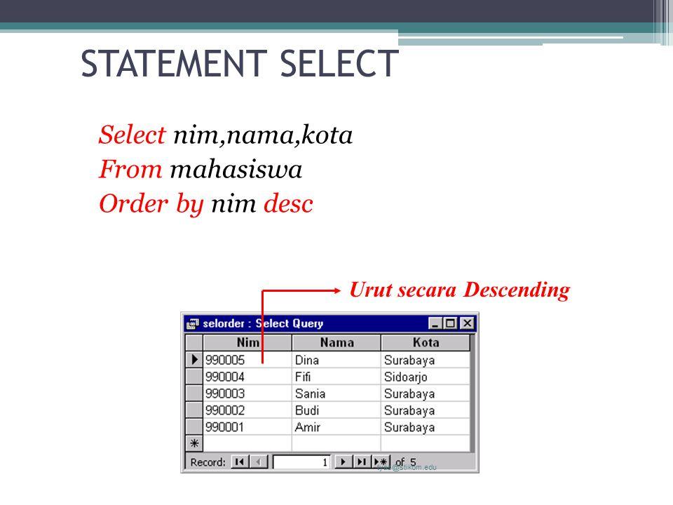 STATEMENT SELECT Select nim,nama,kota From mahasiswa Order by nim desc