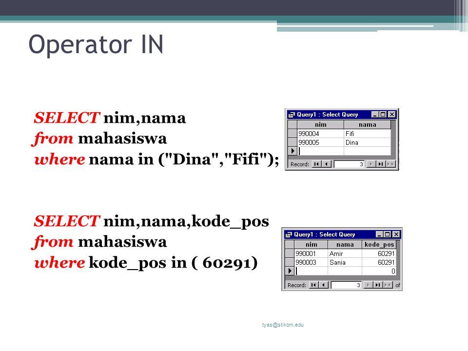 Operator IN SELECT nim,nama from mahasiswa