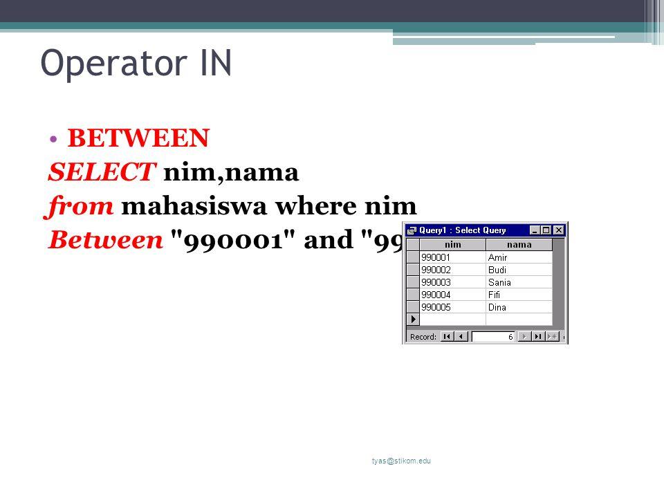 Operator IN BETWEEN SELECT nim,nama from mahasiswa where nim