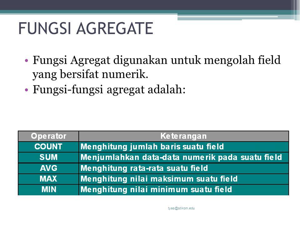 FUNGSI AGREGATE Fungsi Agregat digunakan untuk mengolah field yang bersifat numerik. Fungsi-fungsi agregat adalah: