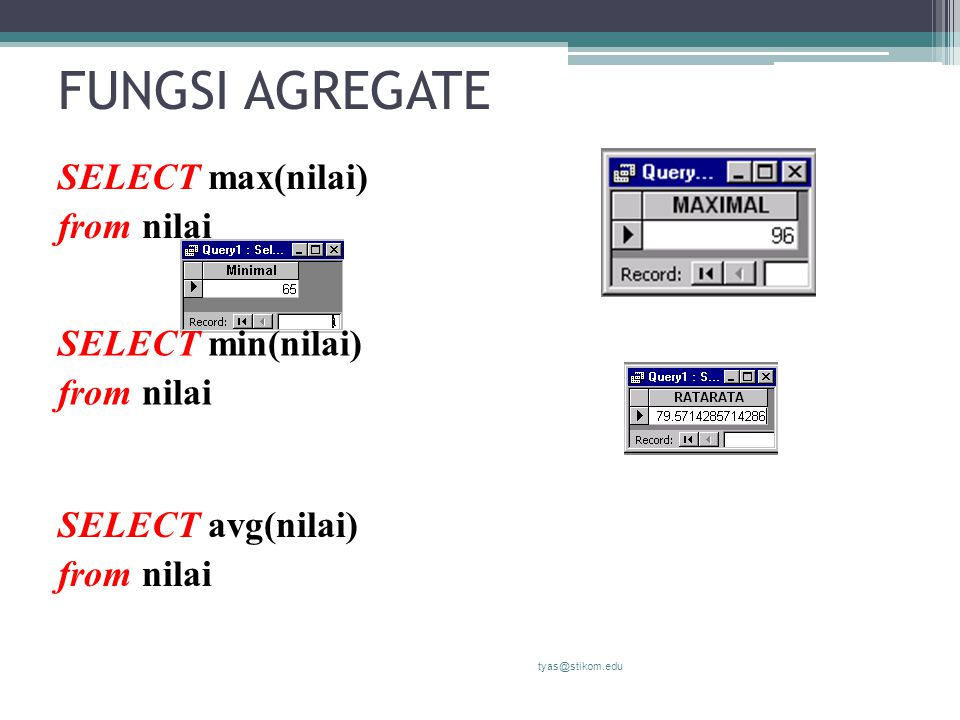 FUNGSI AGREGATE SELECT max(nilai) from nilai SELECT min(nilai)