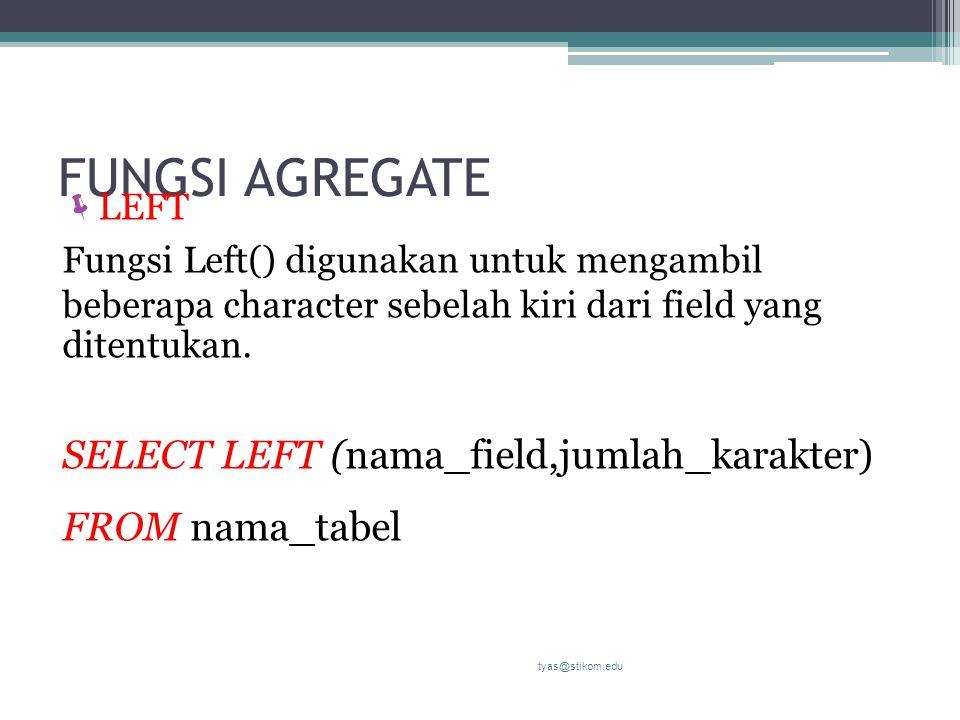 FUNGSI AGREGATE SELECT LEFT (nama_field,jumlah_karakter)