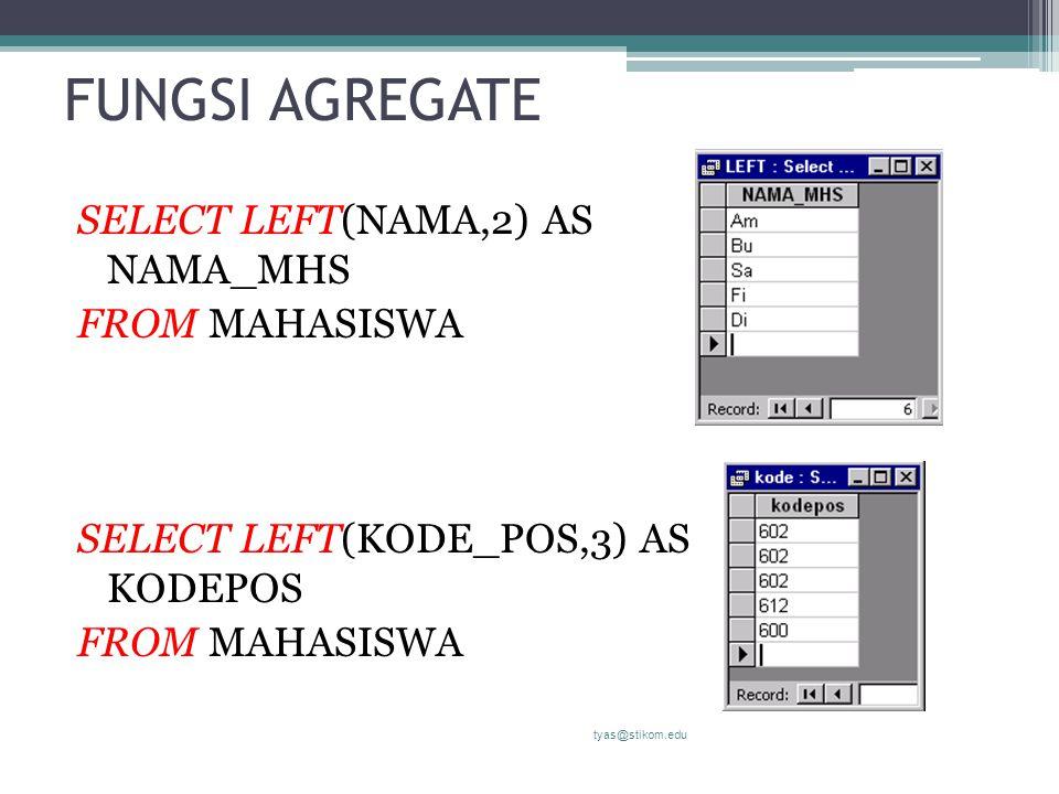 FUNGSI AGREGATE SELECT LEFT(NAMA,2) AS NAMA_MHS FROM MAHASISWA