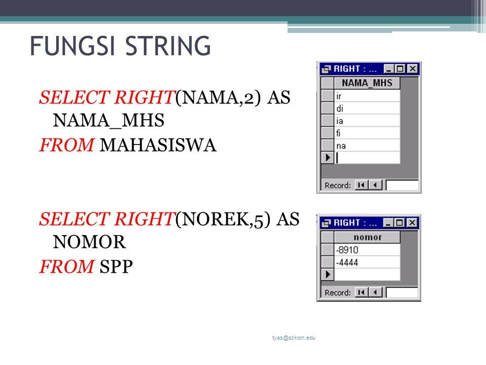 FUNGSI STRING SELECT RIGHT(NAMA,2) AS NAMA_MHS FROM MAHASISWA